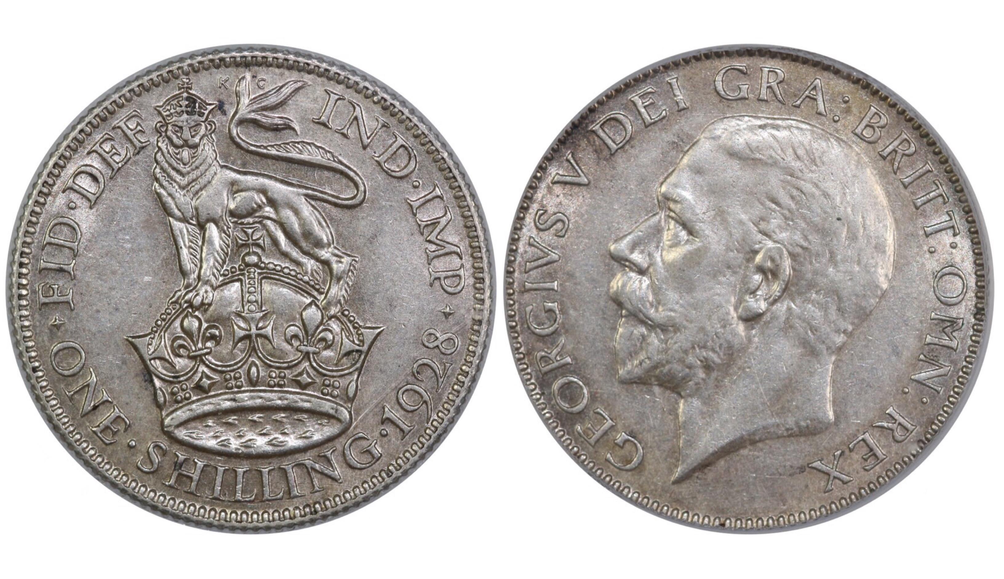 1928 Shilling, CGS 65, George V, ESC 1441, UIN 29056
