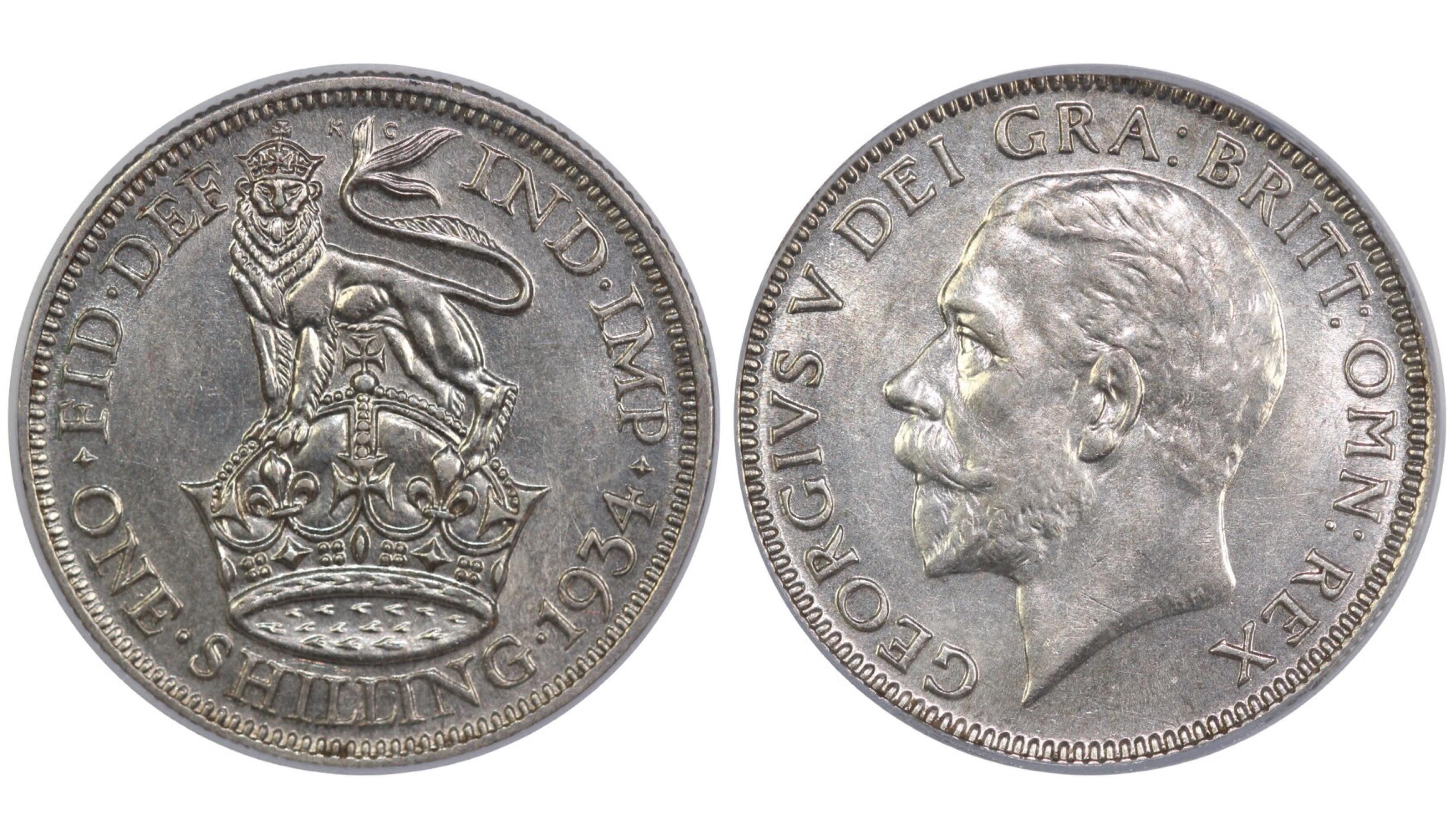 1934 Shilling, CGS 75, George V, ESC 1447, UIN 25658