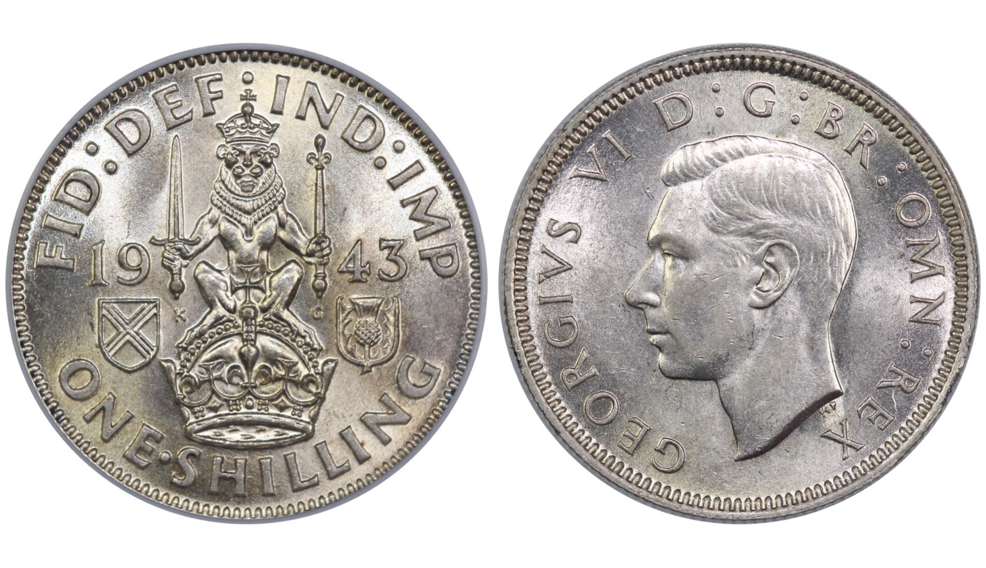 1943 'Scottish' Shilling, CGS 75, ESC 1465, UIN 25671