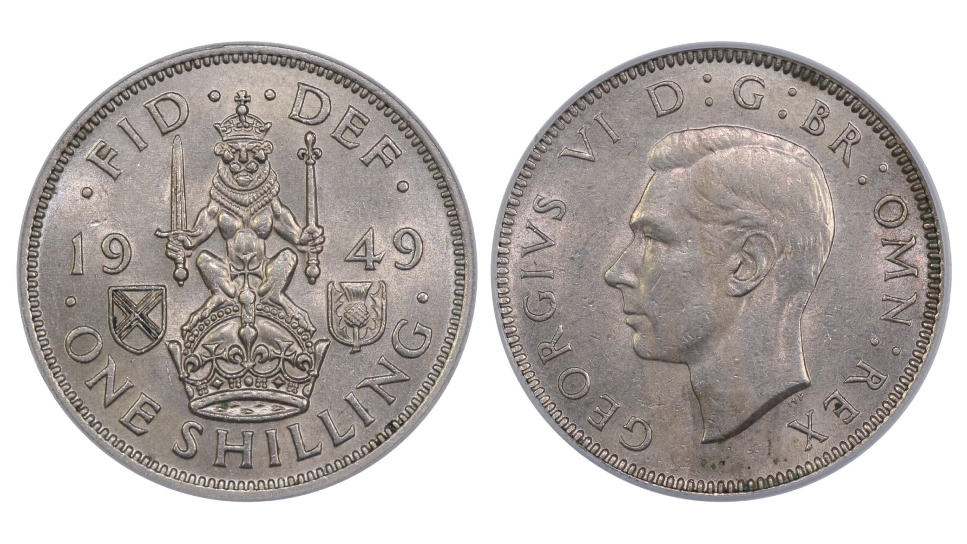 1949 'Scottish' Shilling, CGS 65, George VI, ESC 1475B, UIN 21686