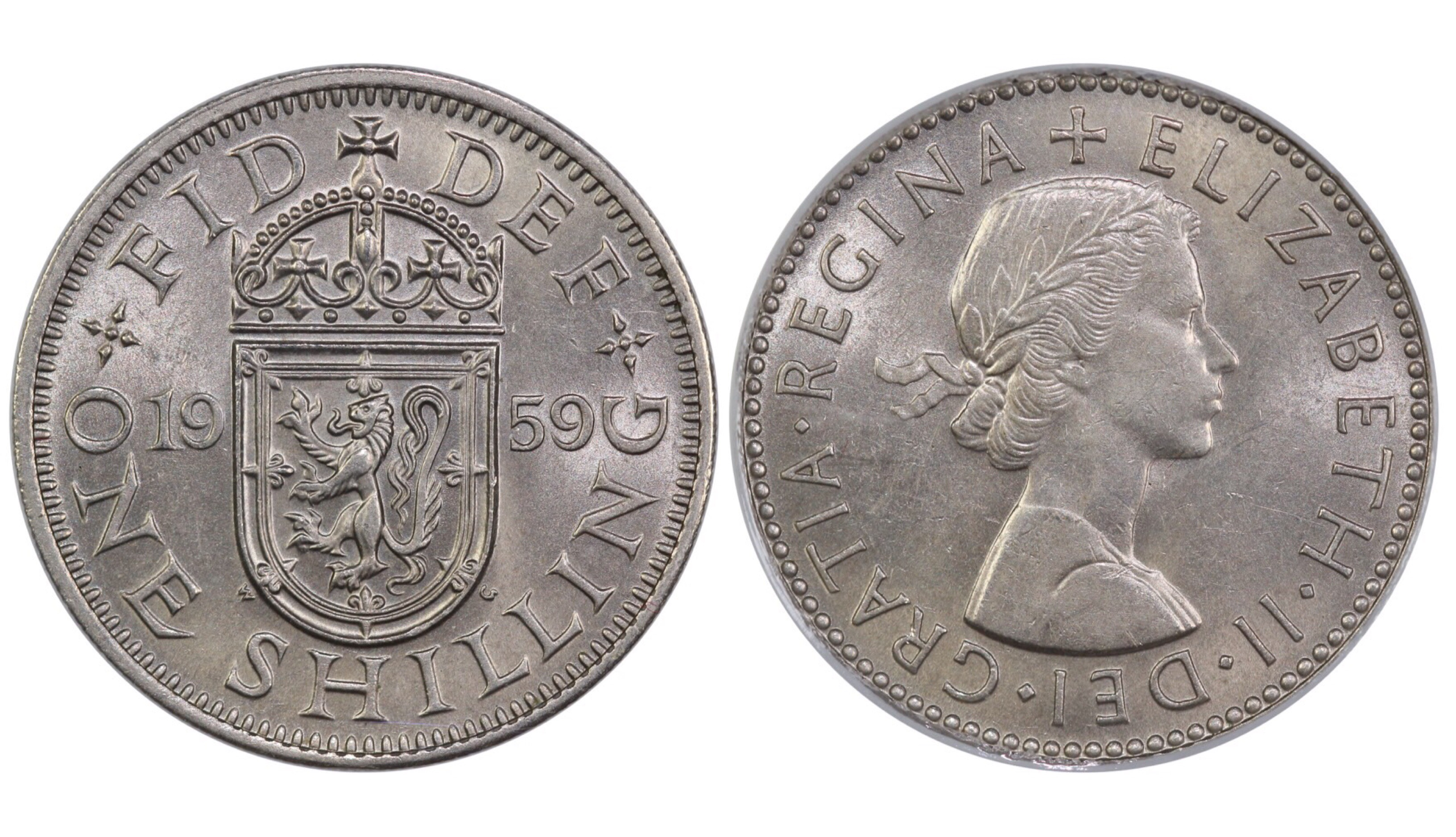 1959 'Scottish' Shilling, CGS 65, Elizabeth II, ESC 1475Z, UIN 38835