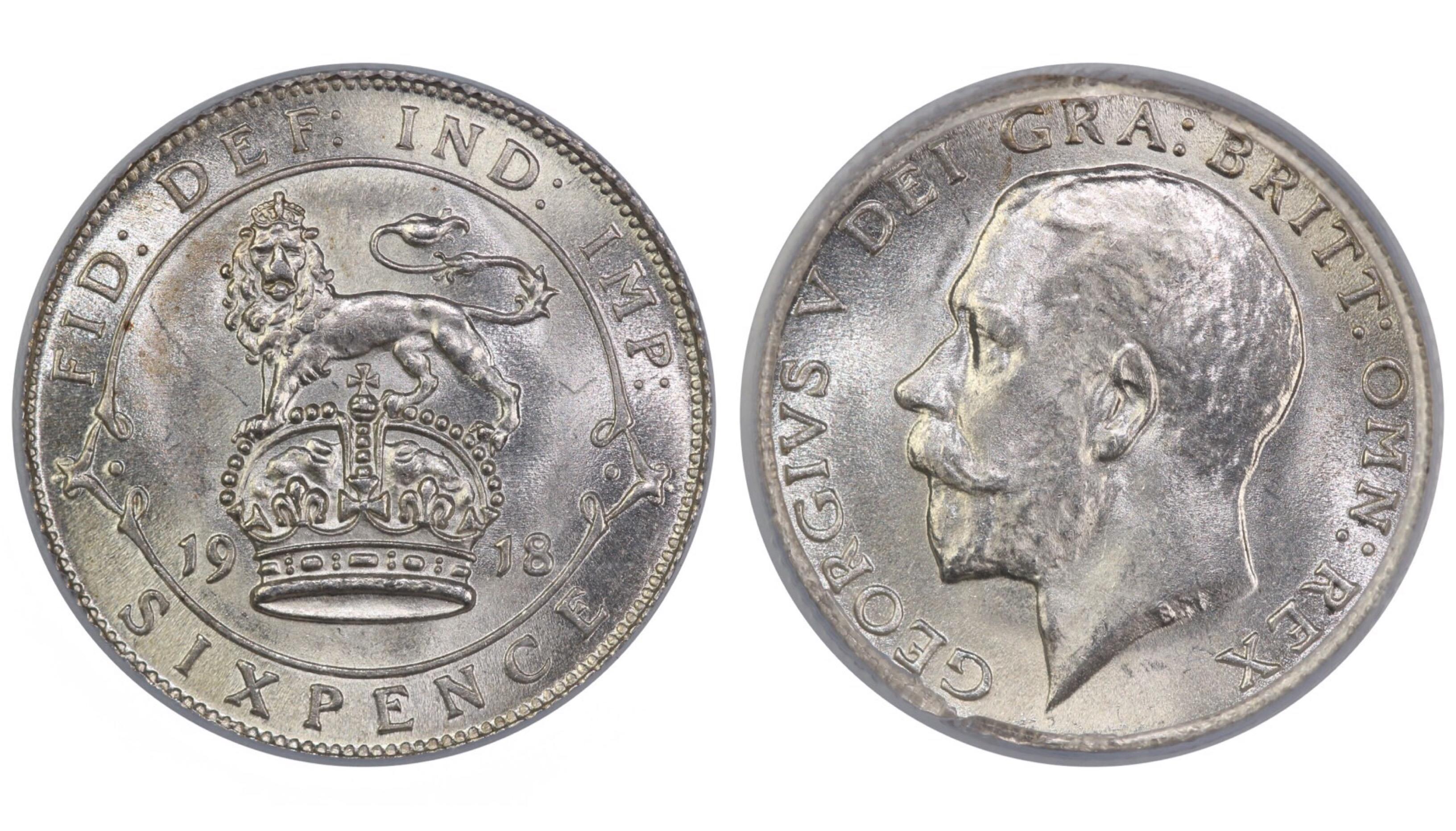1918 Sixpence, CGS 80, George V, ESC  1803, UIN 22848