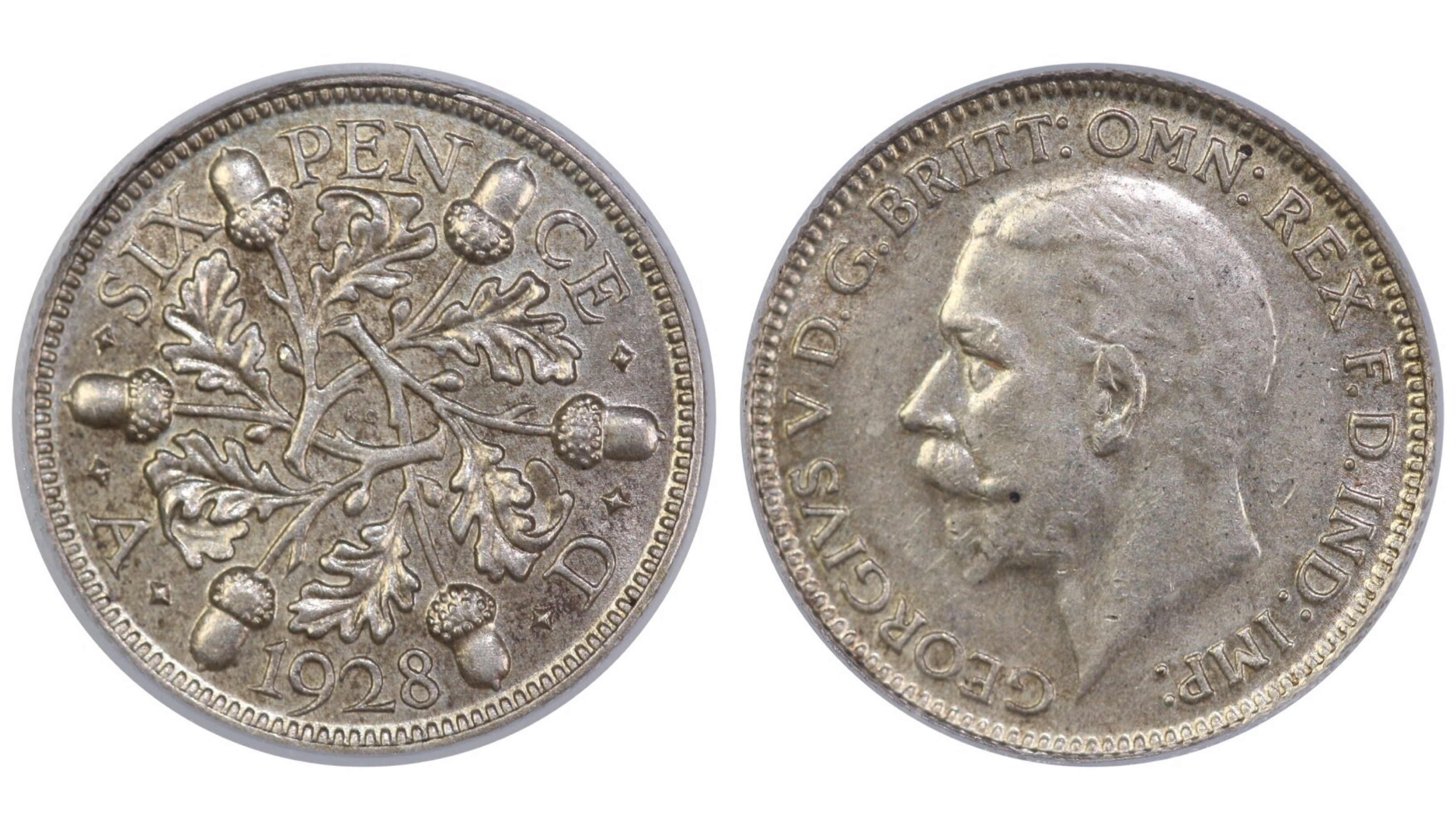 1928 Sixpence, CGS 65, George V, ESC 1817, UIN 22862