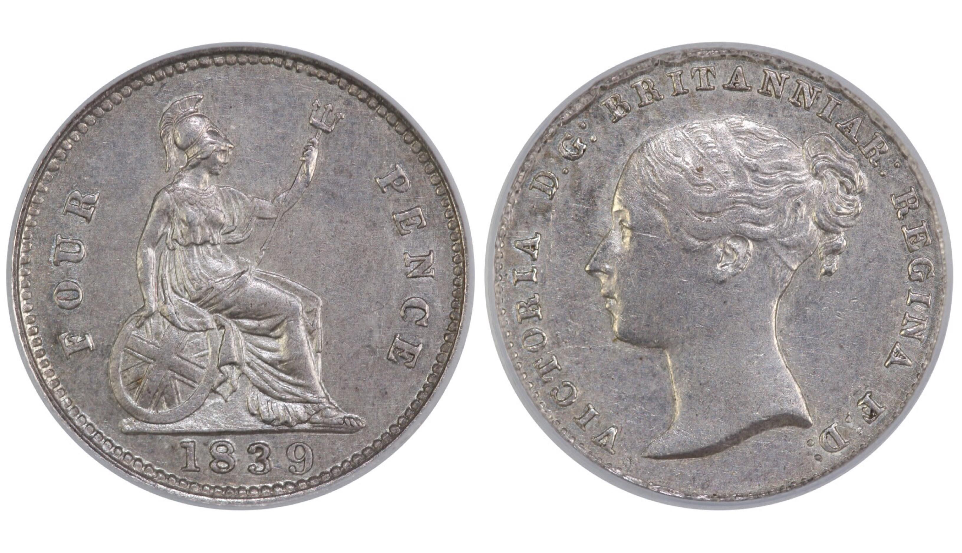 1839 Groat, CGS 55, Victoria, ESC 1932, UIN 33193, Sold at auction via FB