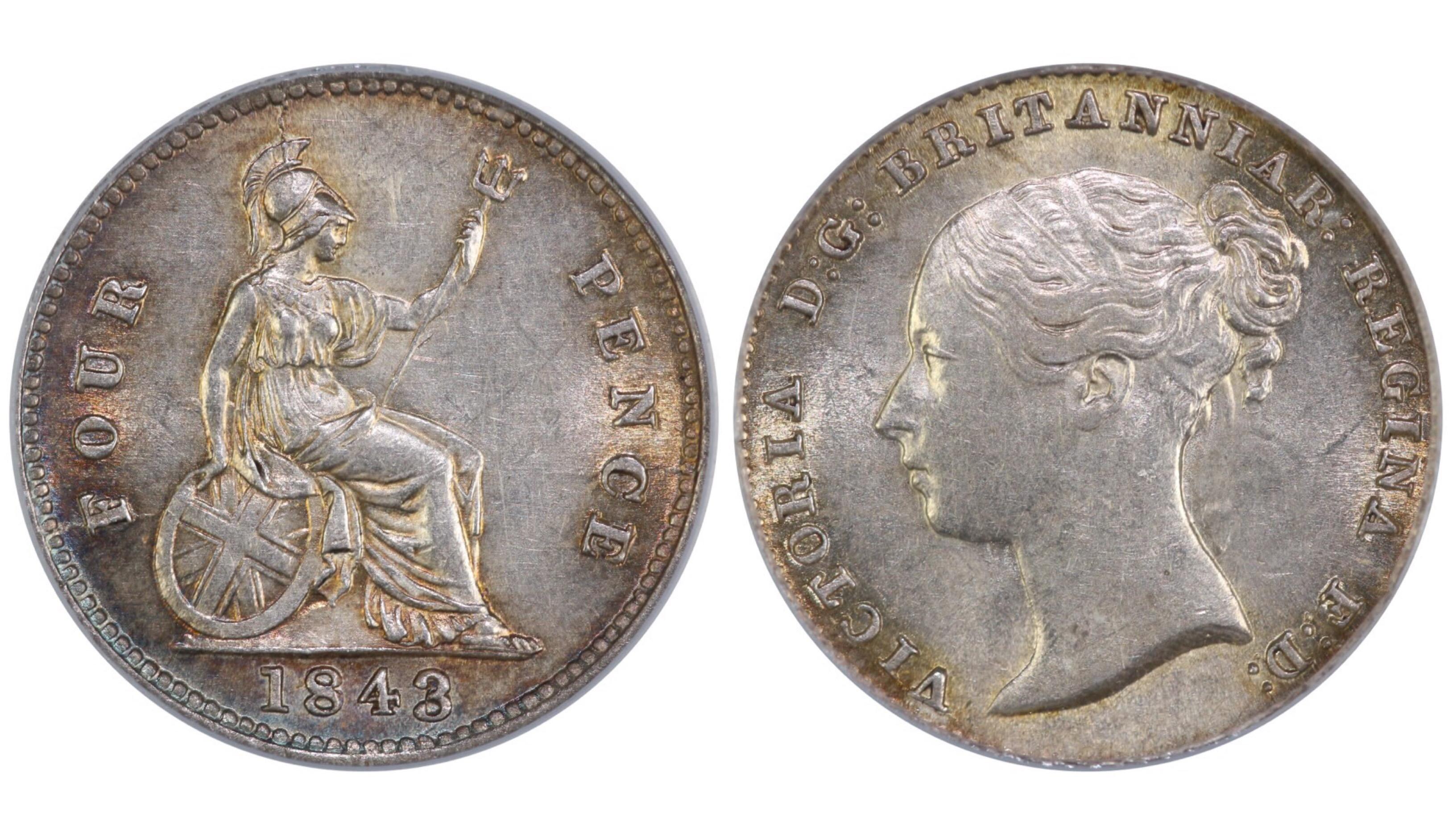 1843 Groat, CGS 65, Victoria, ESC 1938, UIN 21025