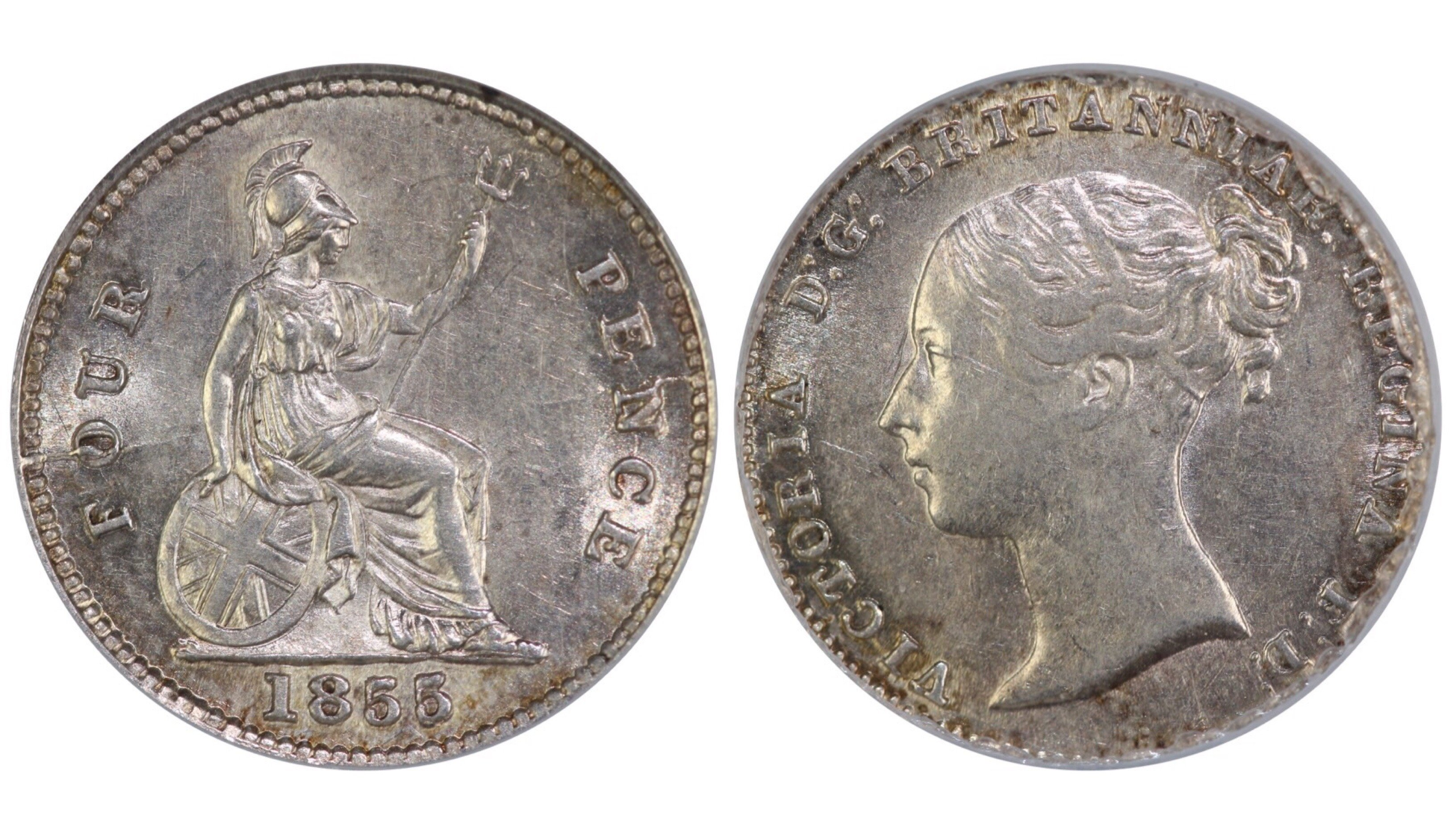 1855 Groat, 5 over lower 5, CGS 65, Victoria, CGS variety 4, UIN 16419