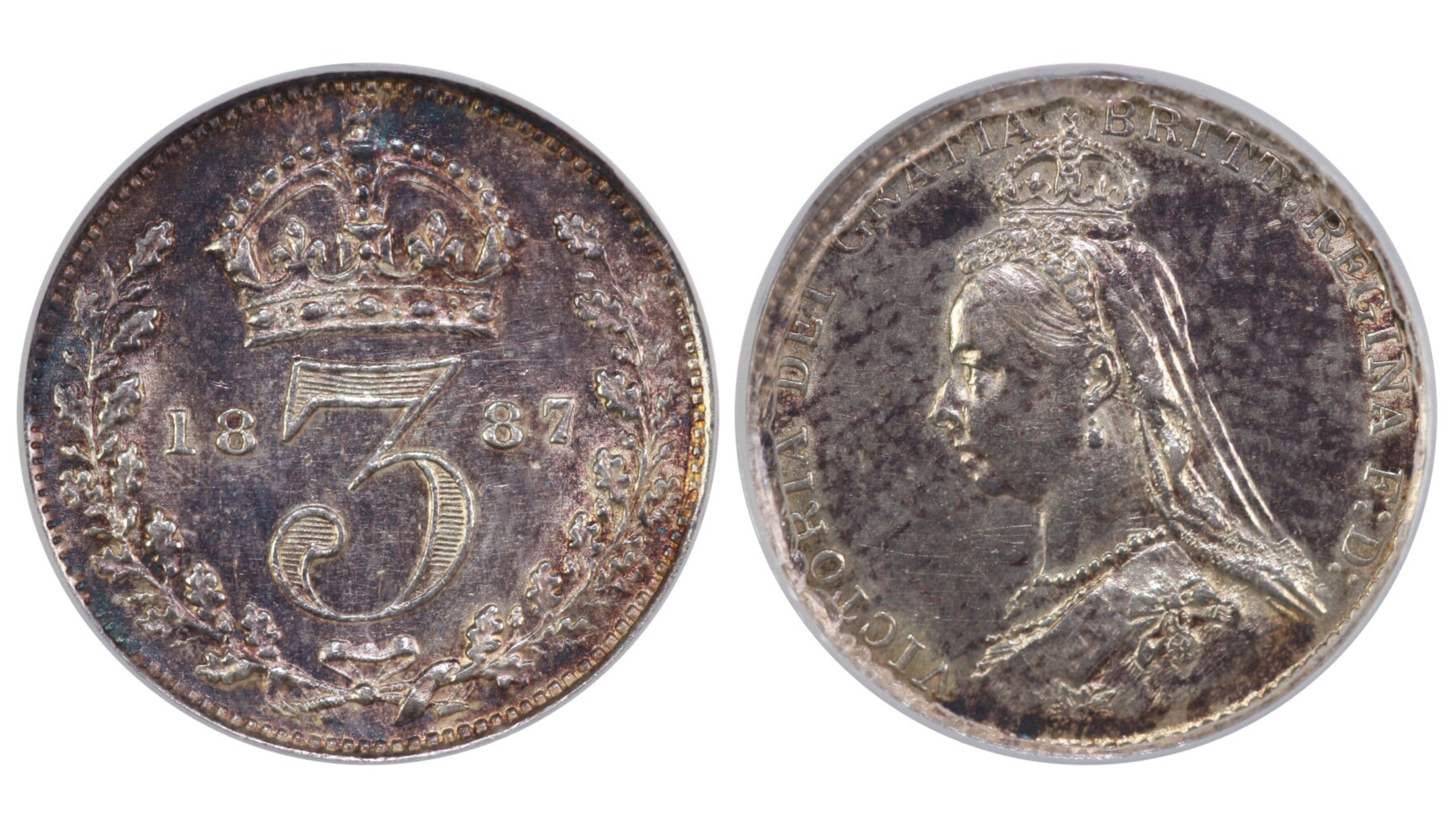 1887 Threepence, CGS 60, Victoria, Dies 2A, Davies 1331, UIN 22245, Sold at FB auction