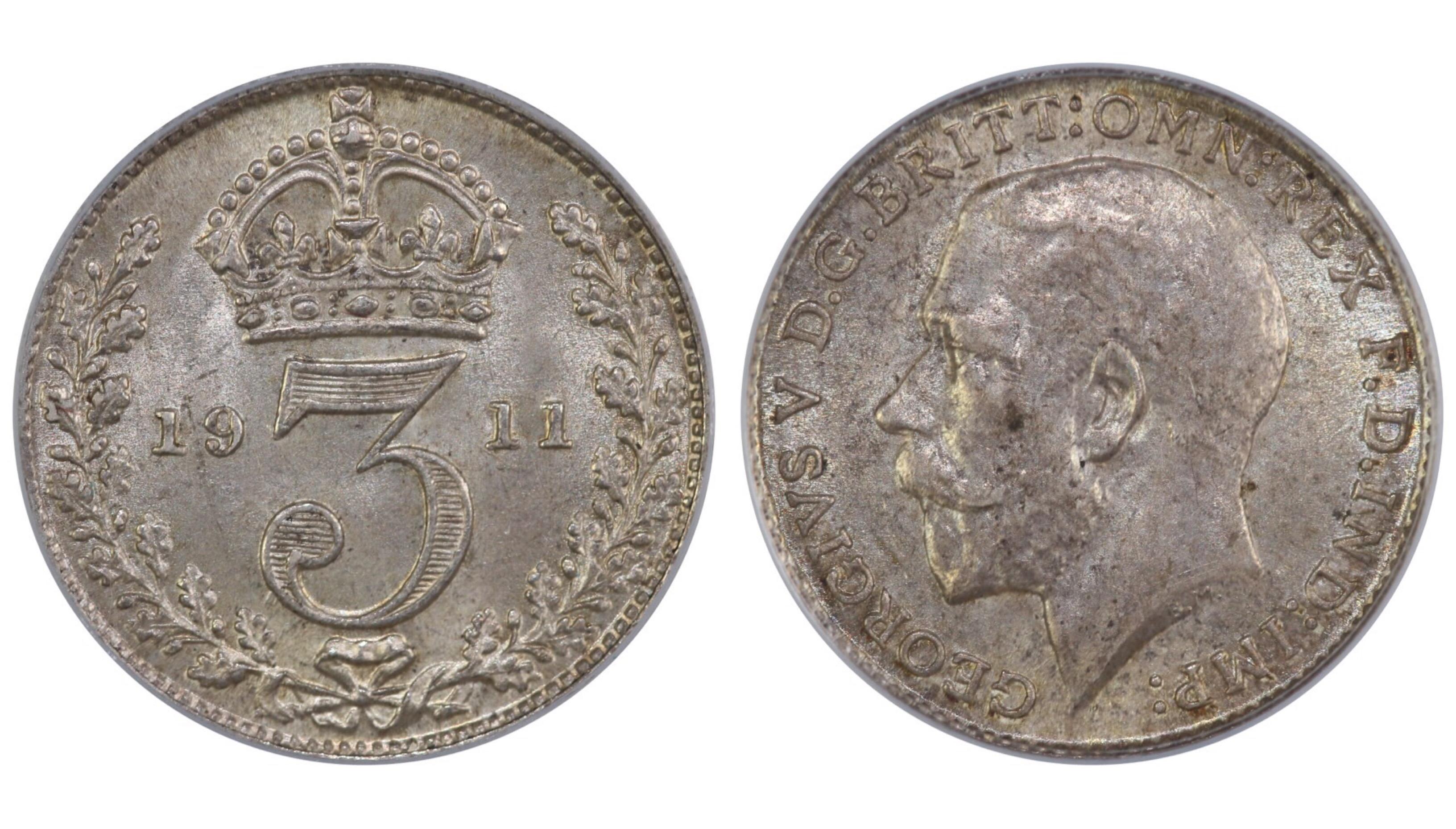 1911 Threepence, CGS 78, George V, Davies 1923, UIN 26694