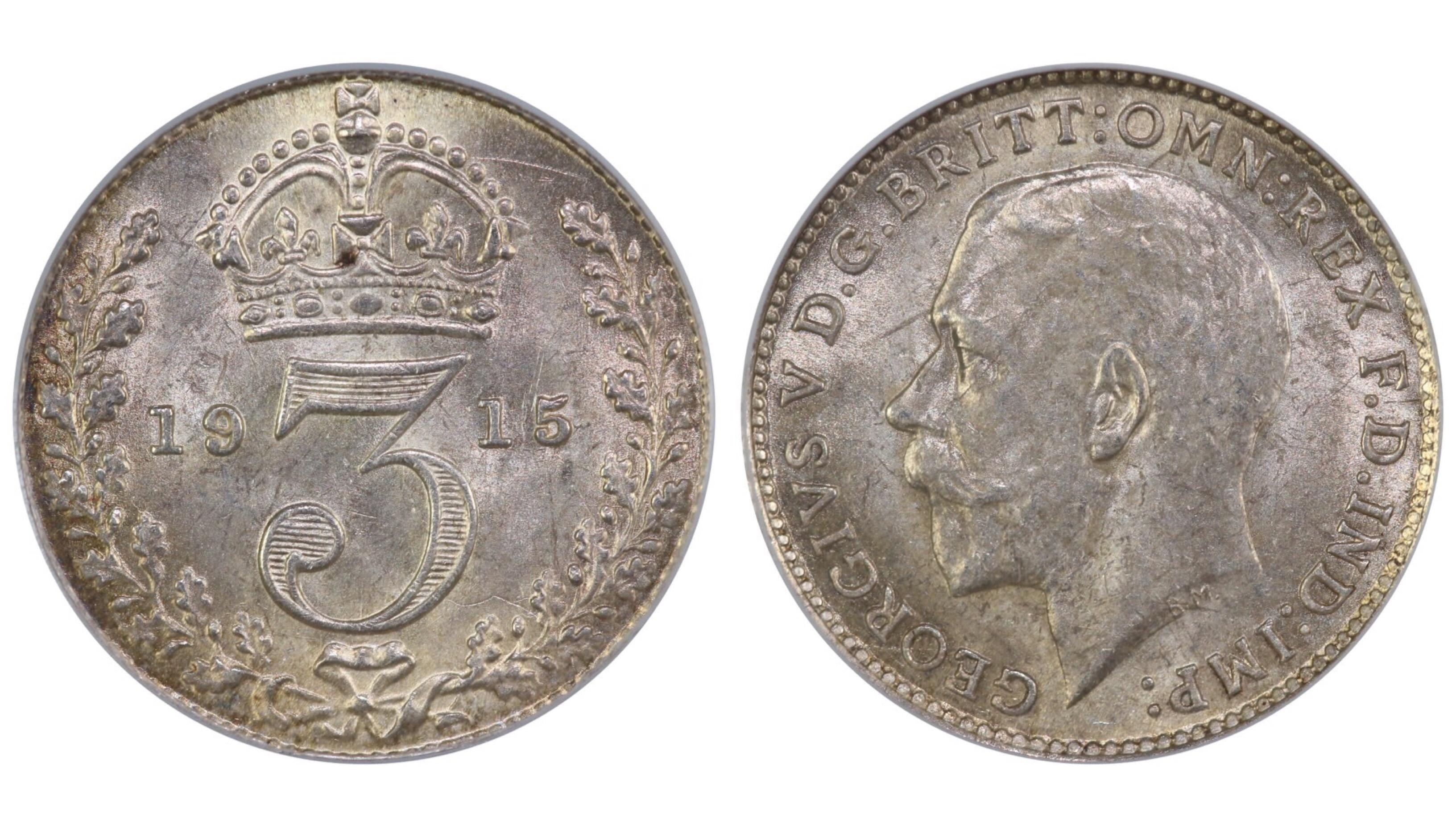 1915 Threepence, CGS 78, George V, ESC 2129, UIN 30010