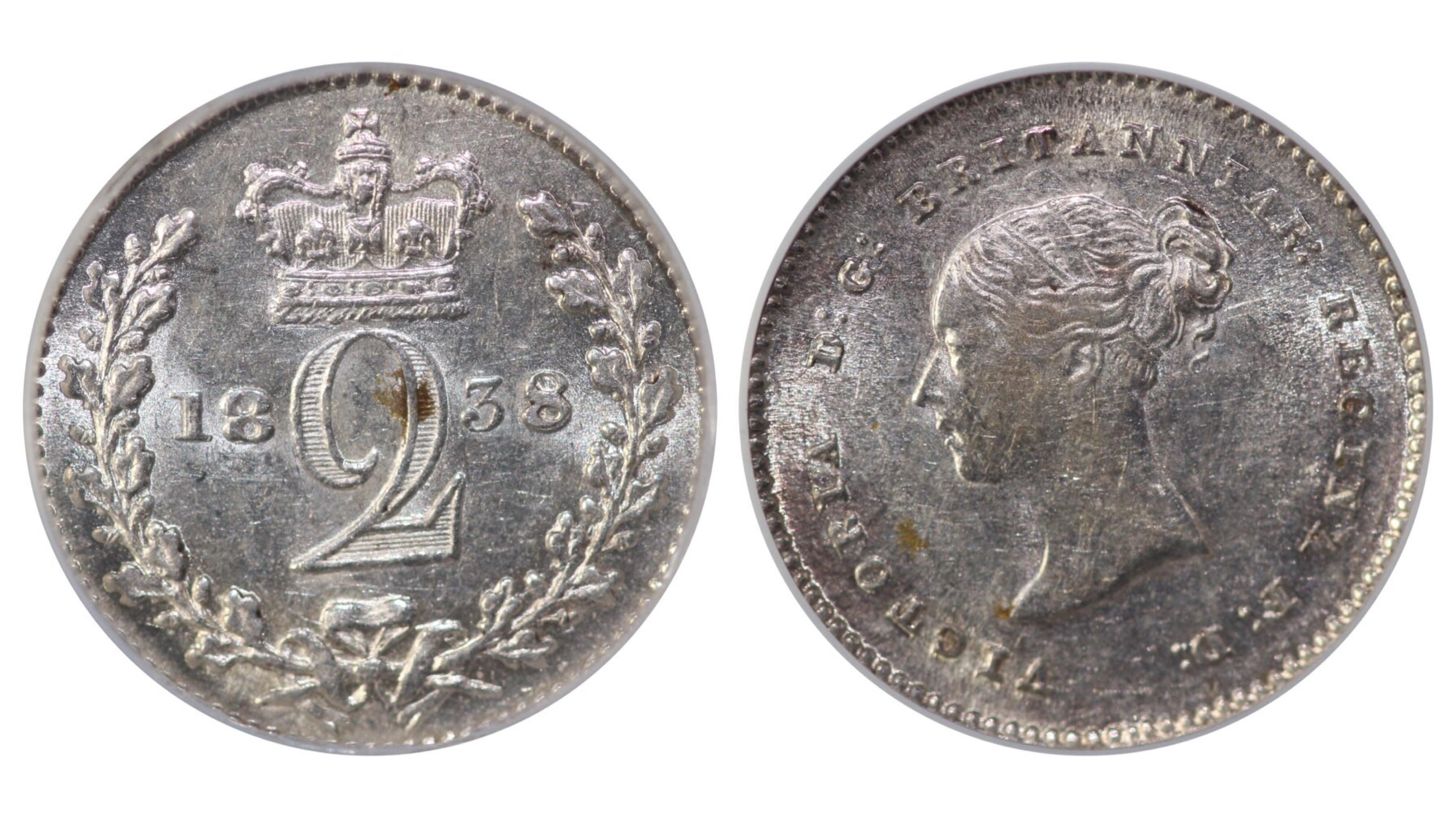 1838 Twopence, '8' reads 'S,' CGS 65, Davies 1371, UIN 19503