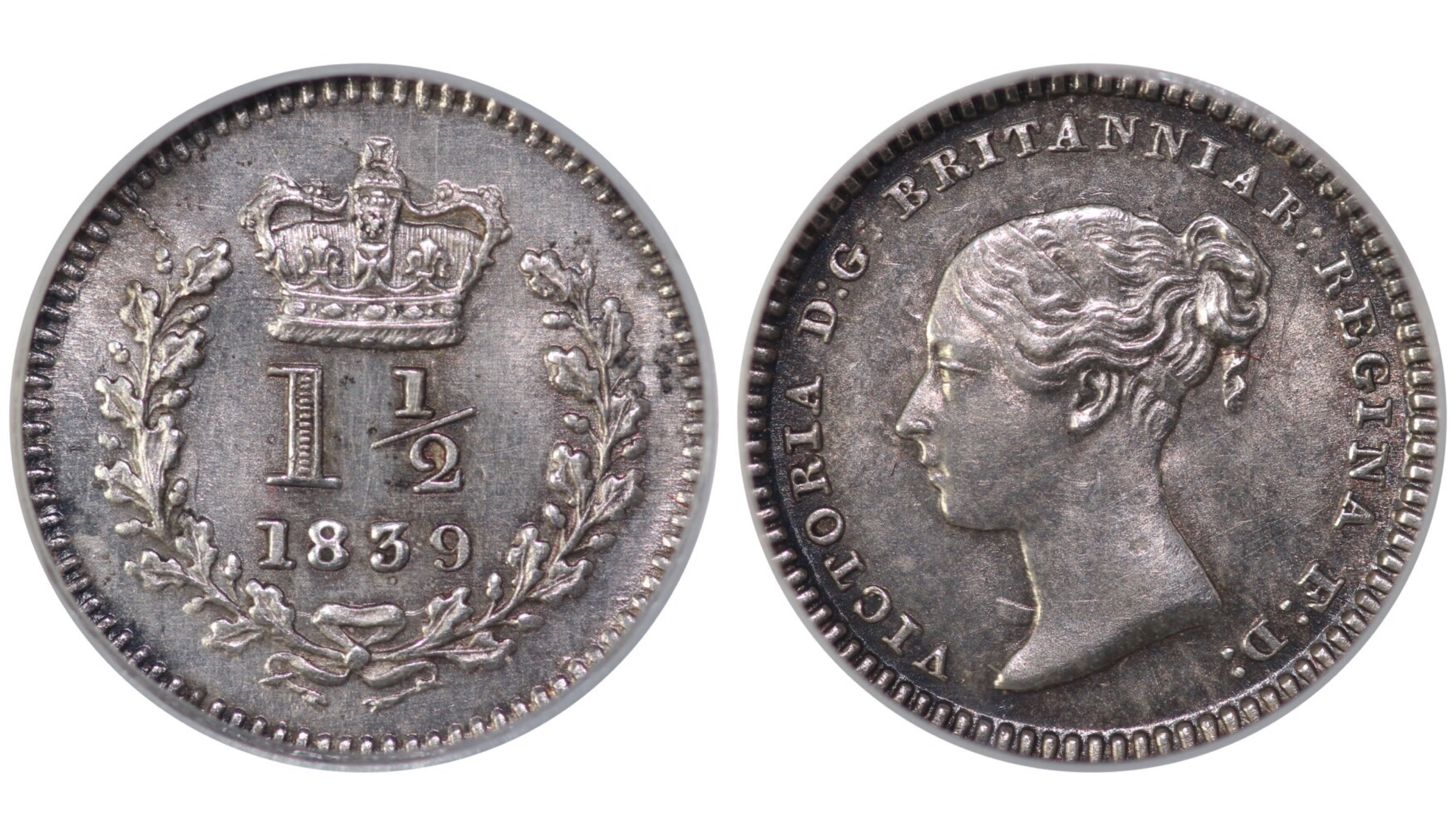 1839 Threehalfpence, Low 9 in date, CGS 65, Victoria, CGS variety 4, UIN 21012