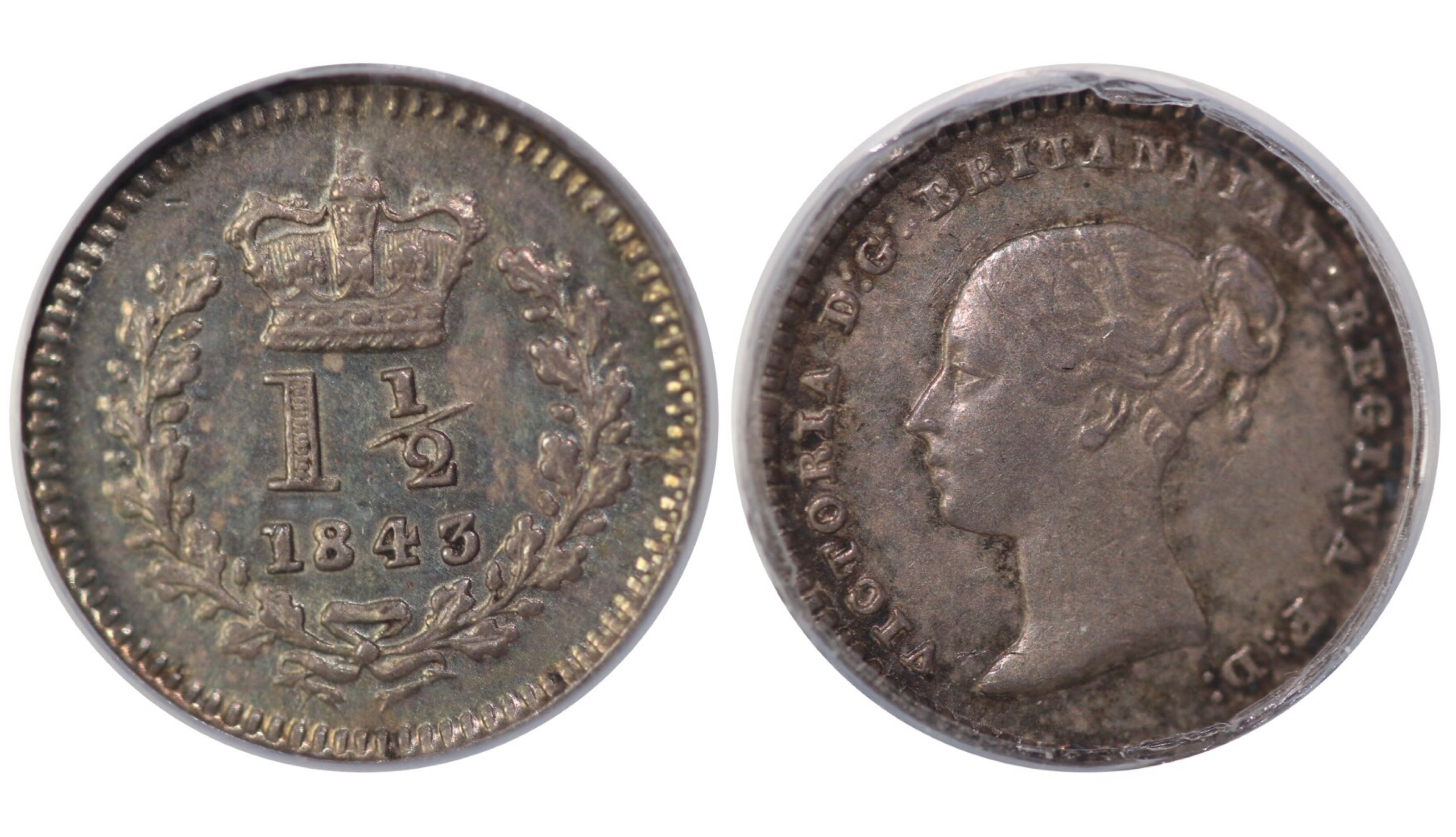 1843 Threehalfpence, Flat top 4, CGS 65, Victoria, CGS variety 5,, UIN 17482