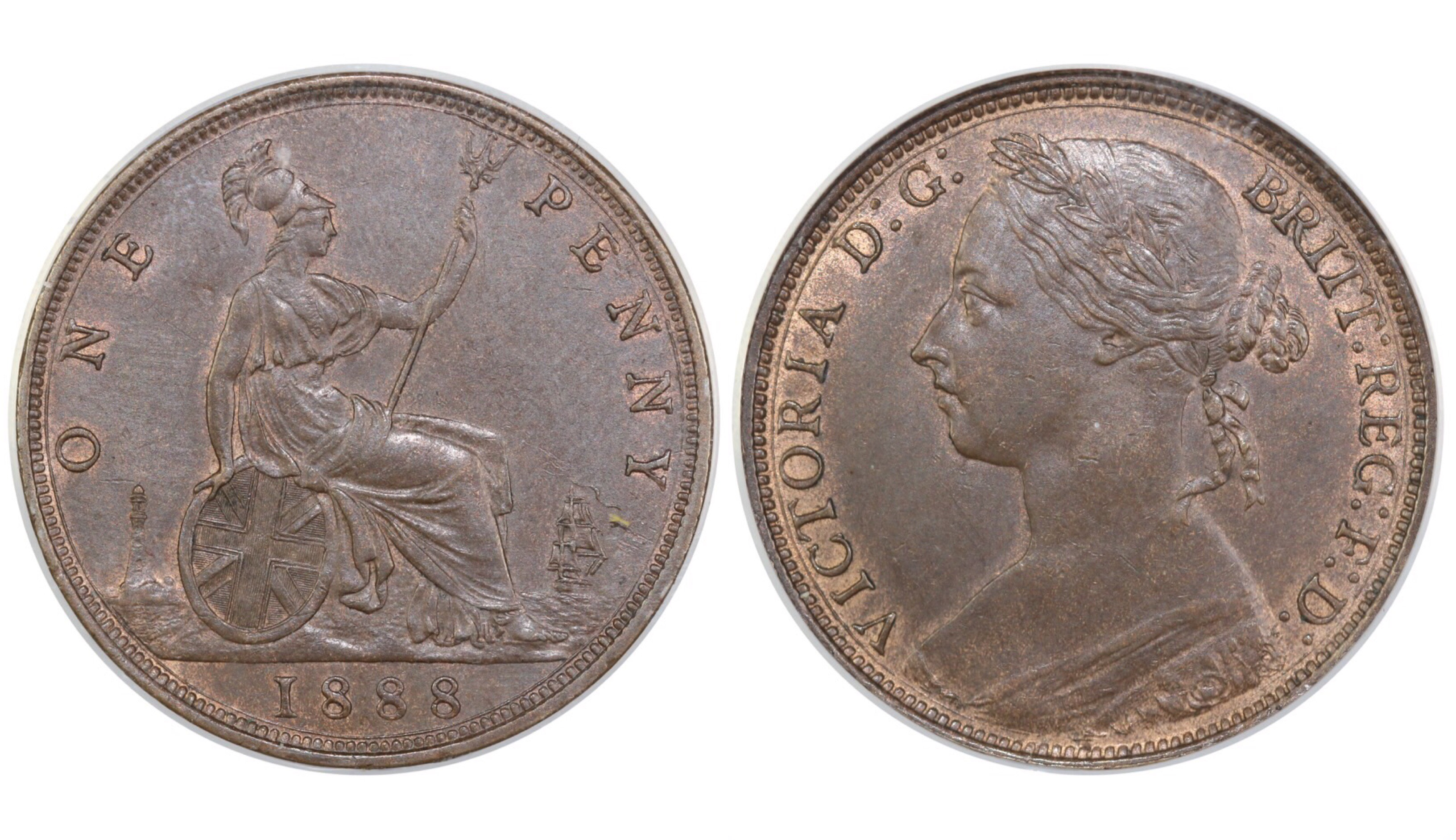 1888 Penny, Missing serif to I's in Victoria, CGS 65, CGS variety 2, UIN 21043