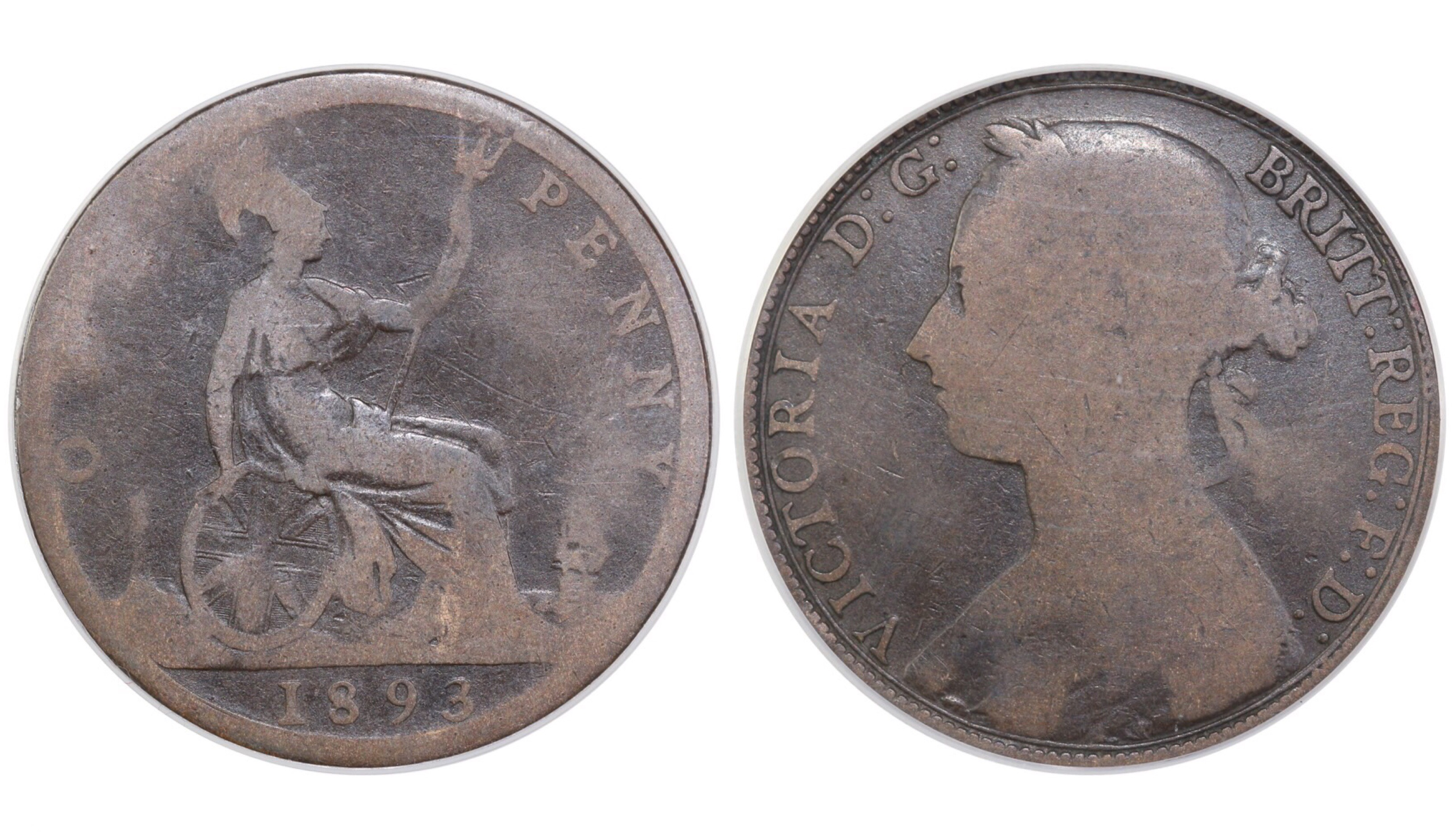 1893 Penny, 3 over 2, CGS 5, Victoria, Gouby BP1893B