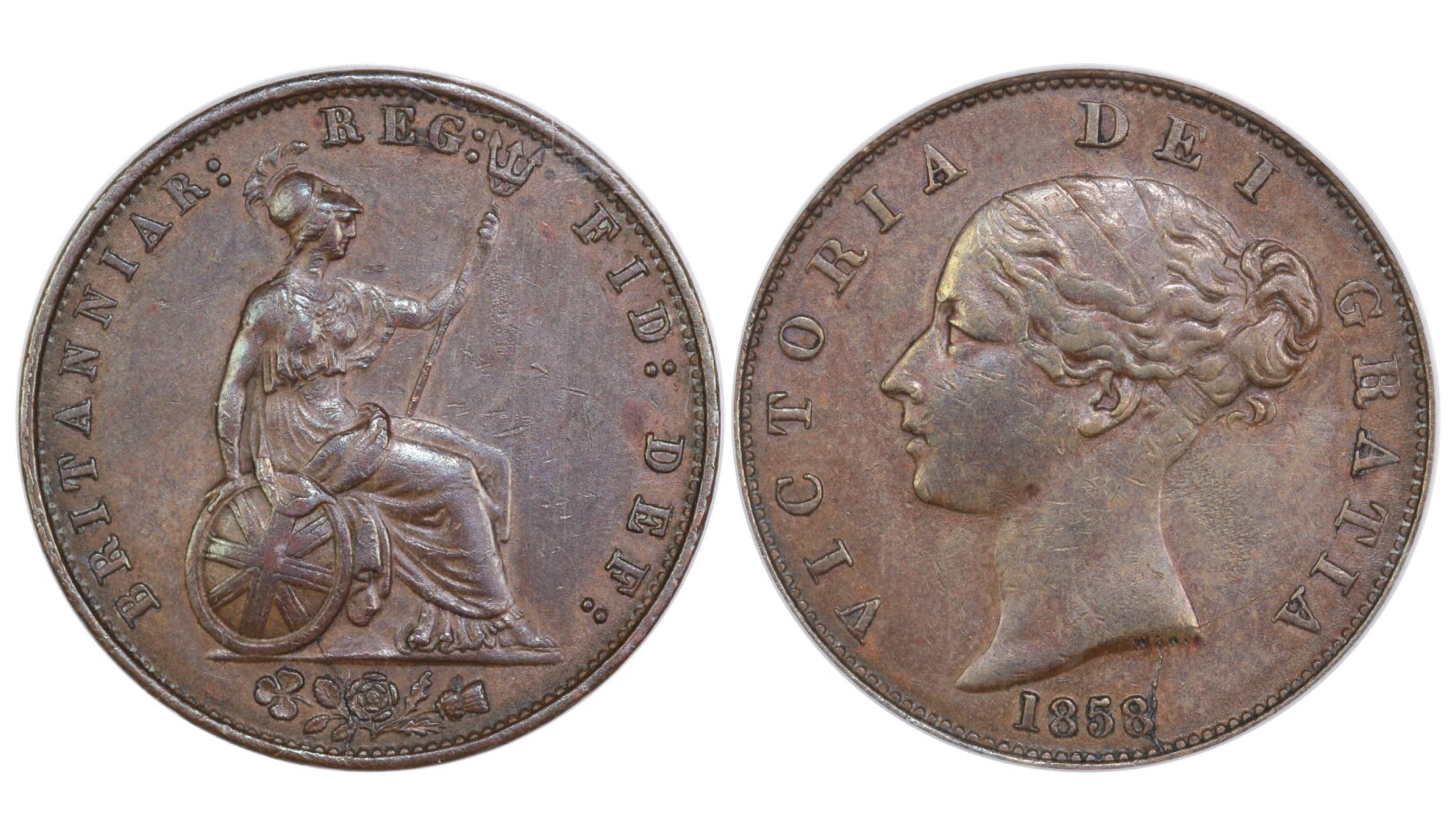 1858/6 Halfpenny, CGS 45, Victoria, Peck 1547, UIN 36458