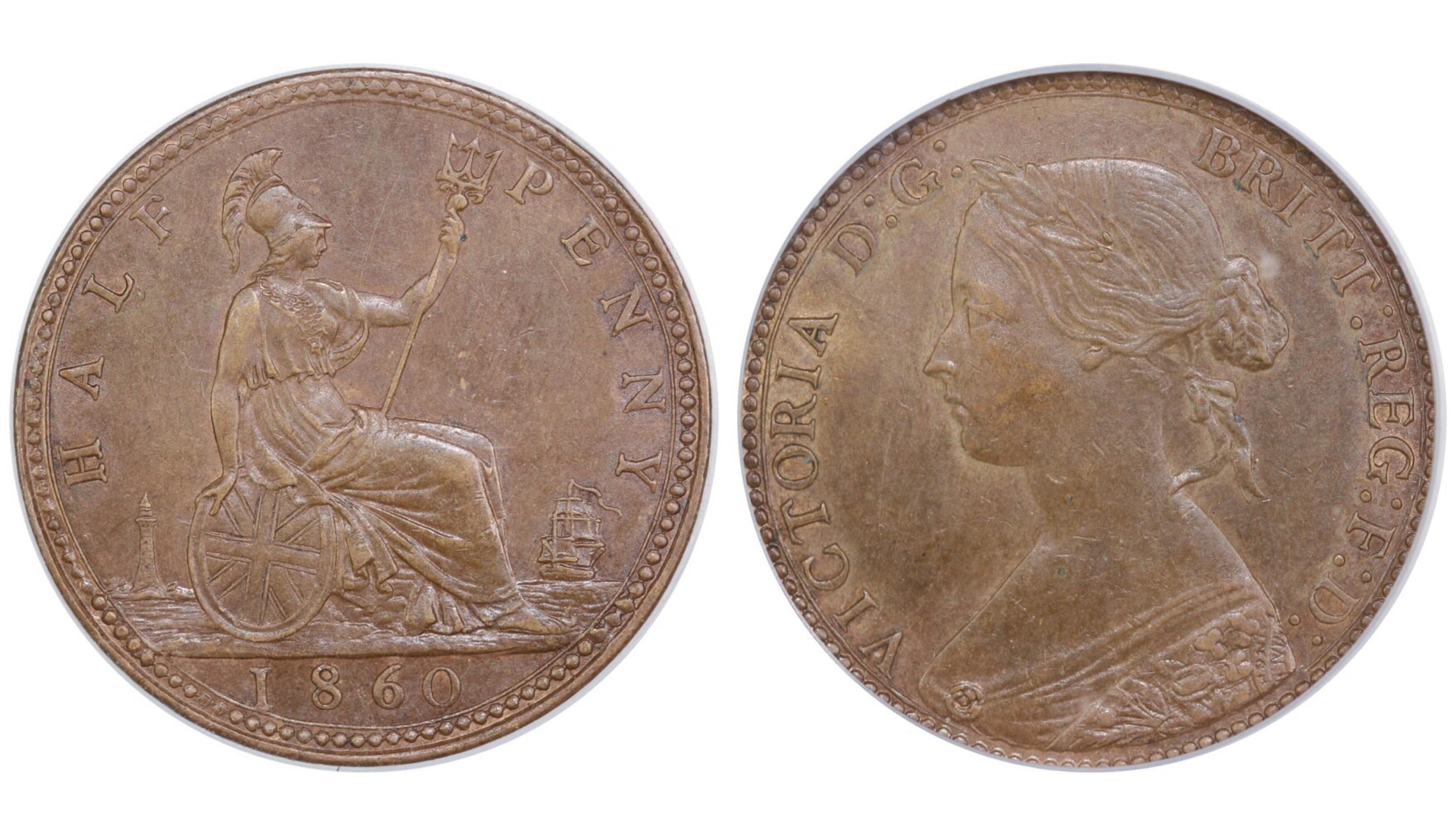 1860 Halfpenny, CGS 65, Victoria, Freeman 258, UIN 23286