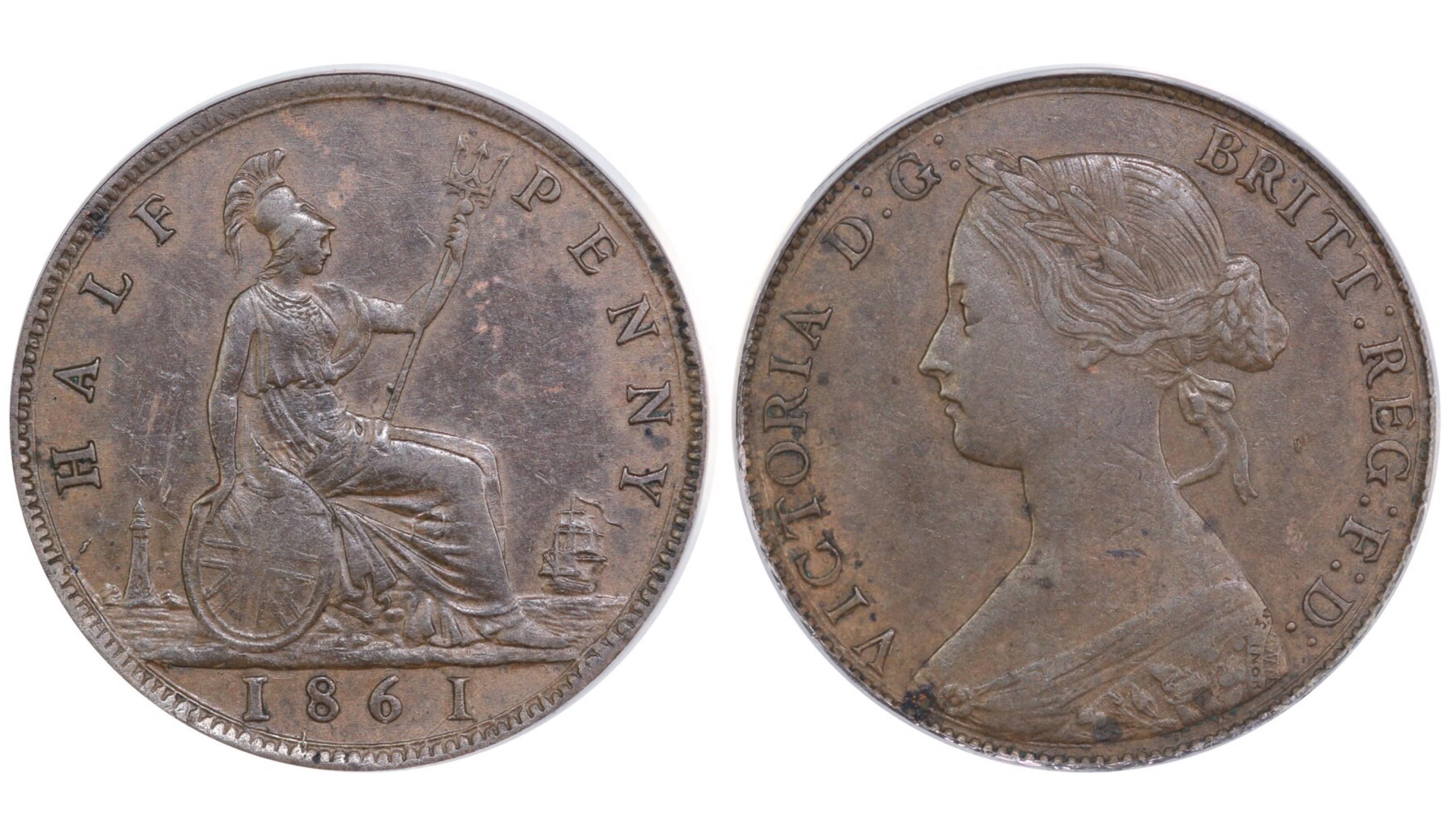 1861 Halfpenny, CGS 45, Dies 6G, Freeman 277, UIN 22097
