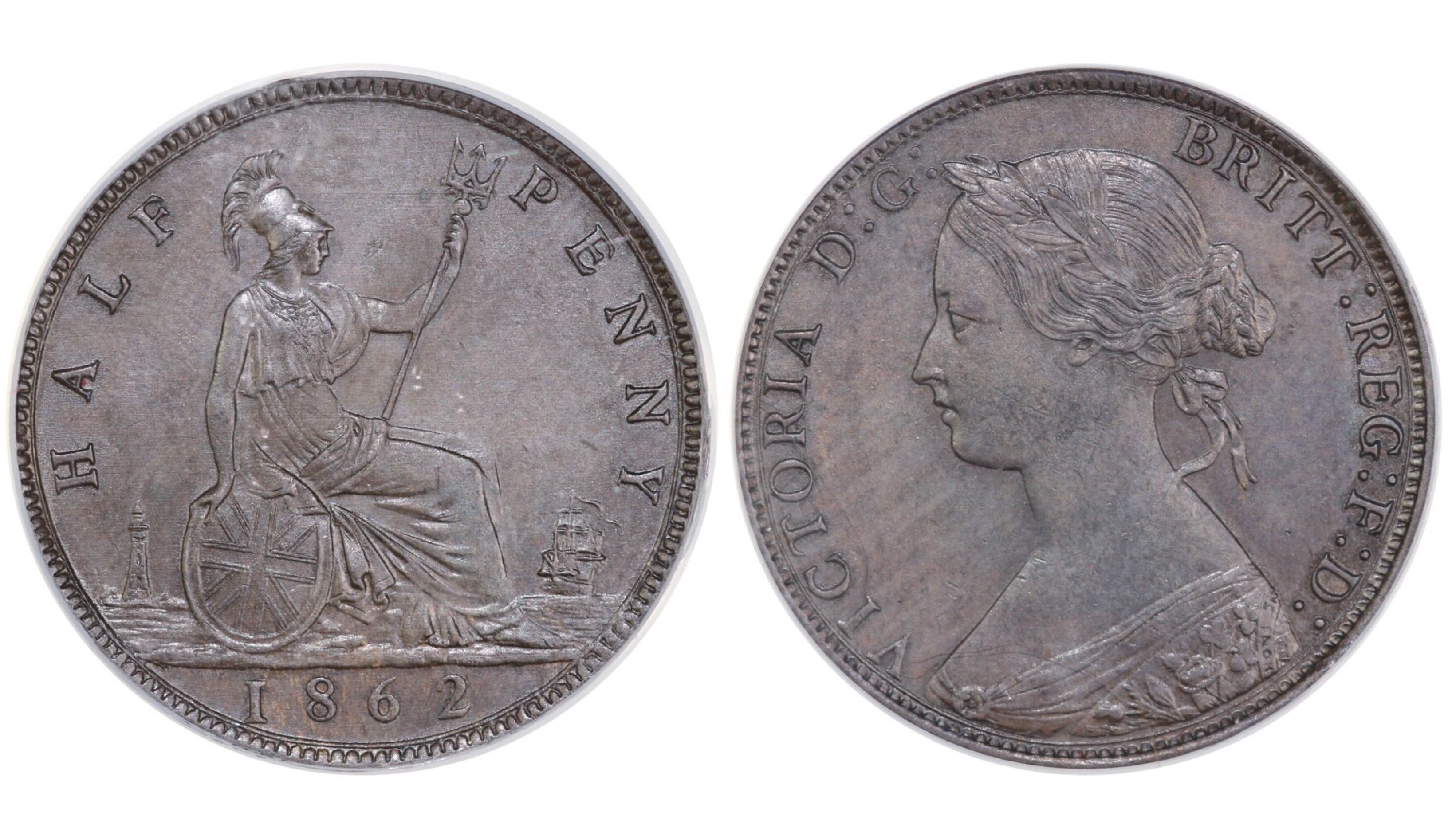 1862 Halfpenny, CGS 78, UNC, Victoria, Freeman 289, UIN 22230
