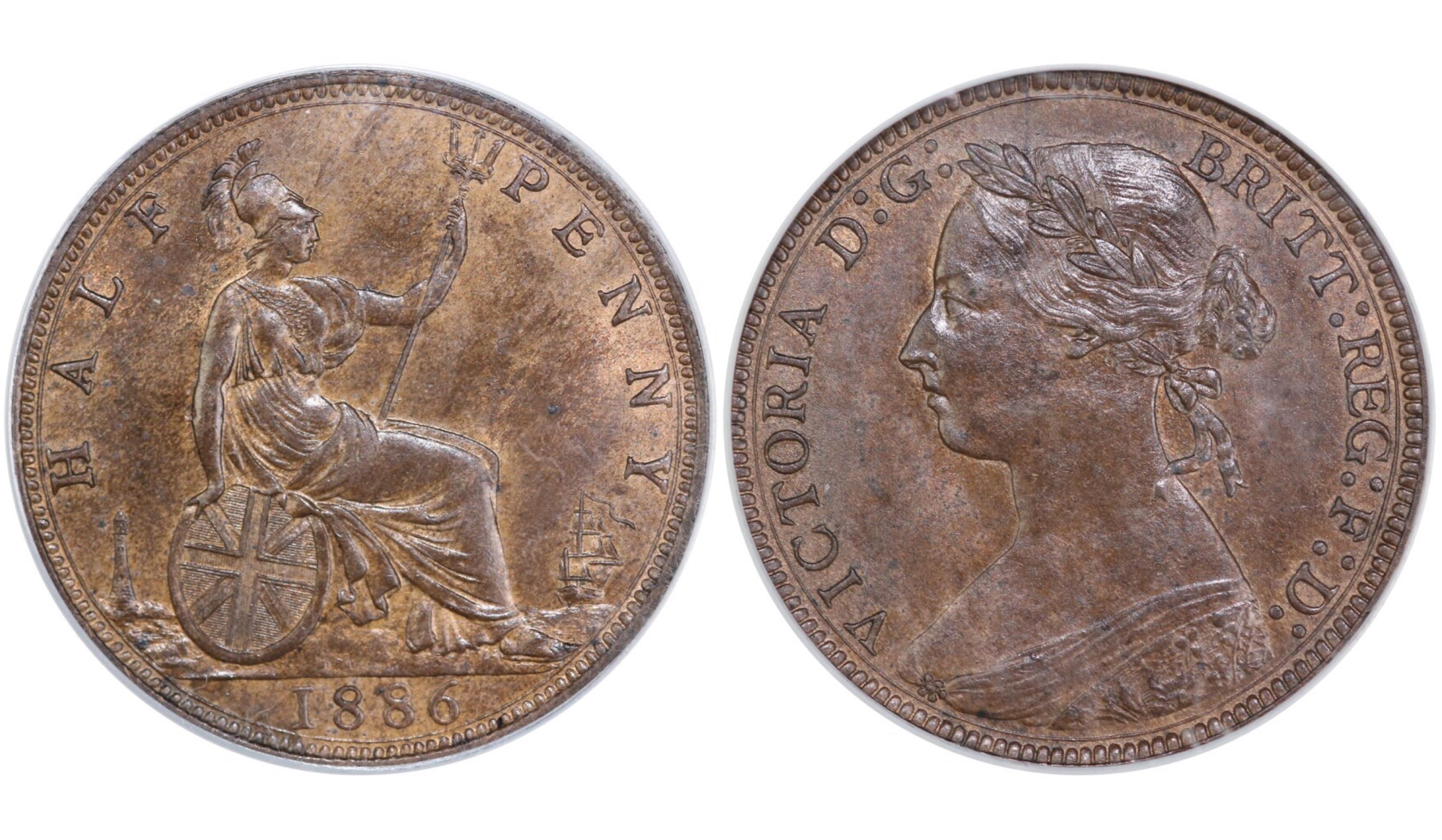 1886 Halfpenny, CGS 78, Victoria, Freeman 356, UIN 37290