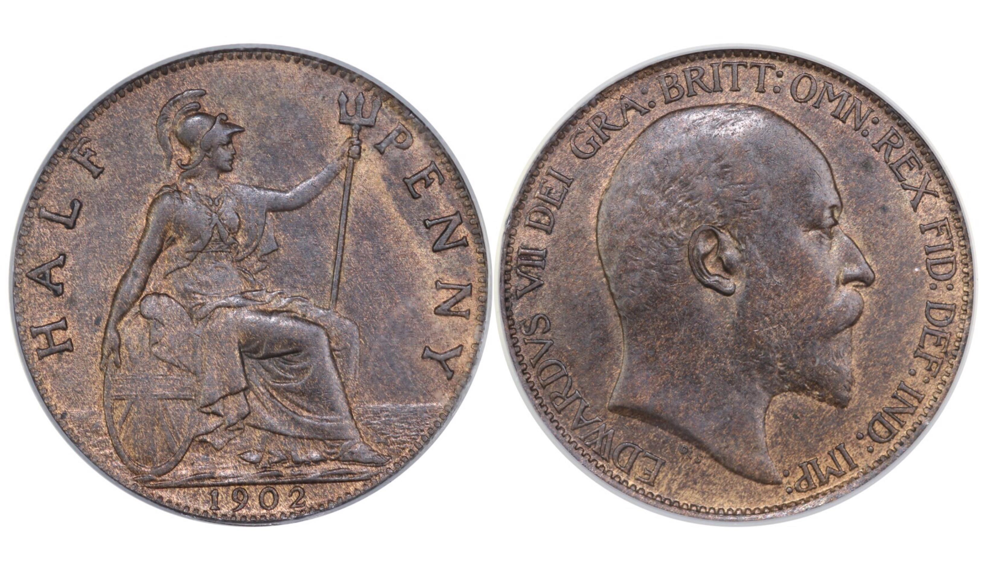 1902 Halfpenny, CGS 60, Edward VII, Freeman 381, UIN 22148