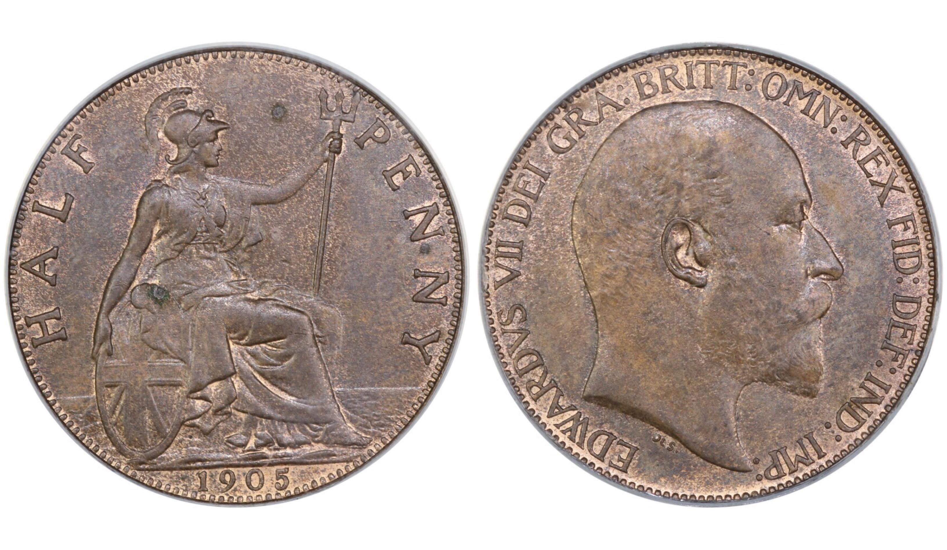1905 Halfpenny, CGS EF 'Corrosion', Edward VII, Freeman 384, UIN 22152