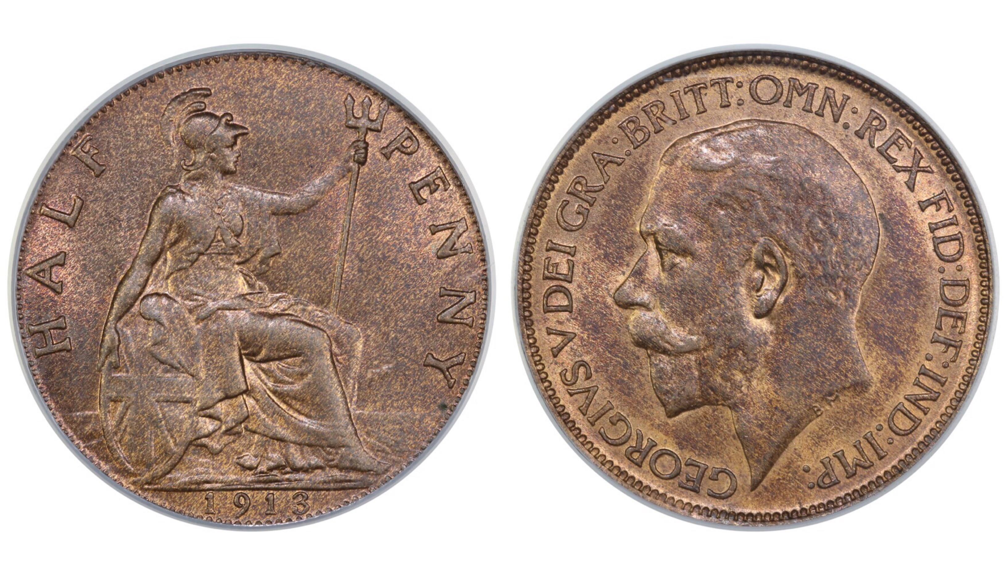 1913 Halfpenny, CGS 78, George V, Freeman 392, UIN 22160