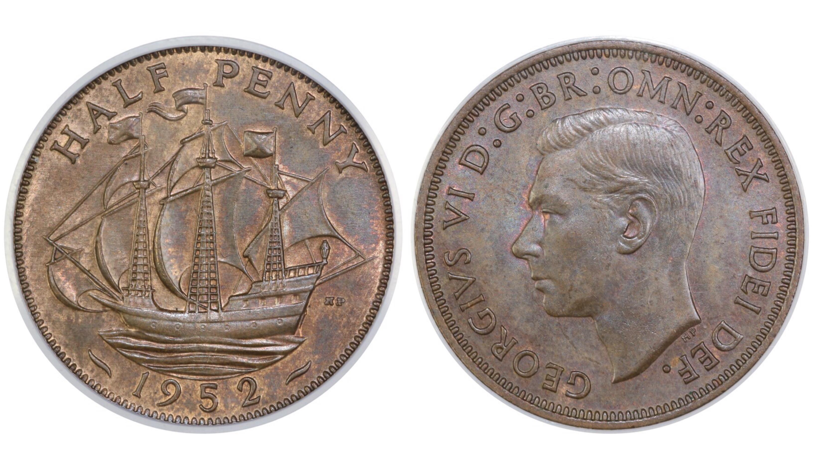1952 Halfpenny, CGS 78, George VI, Freeman 461, UIN 22198