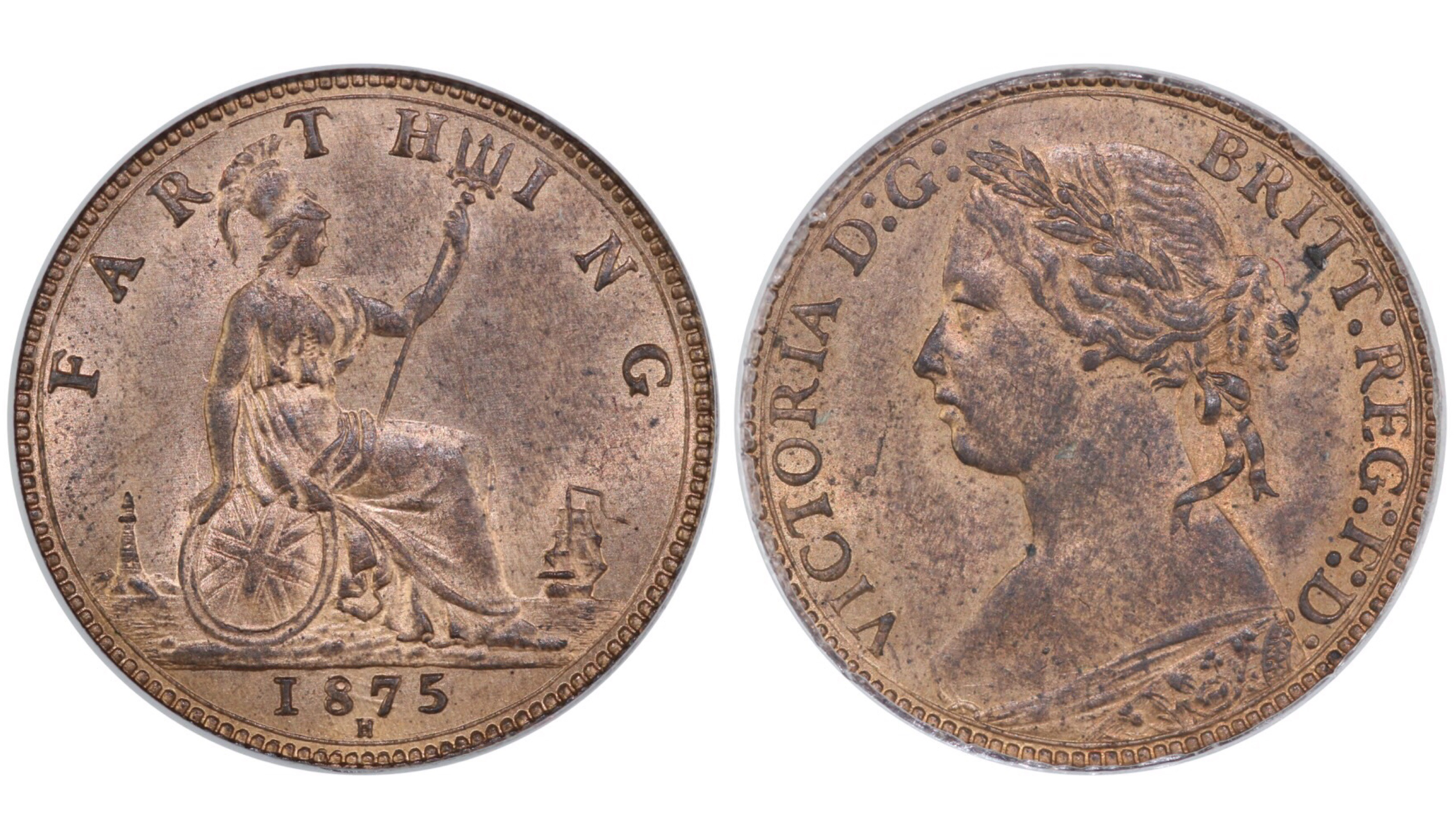 1875 H Farthing, CGS 78, Victoria, 4 berries, small date, RF.G, Freeman 532, UIN 22081