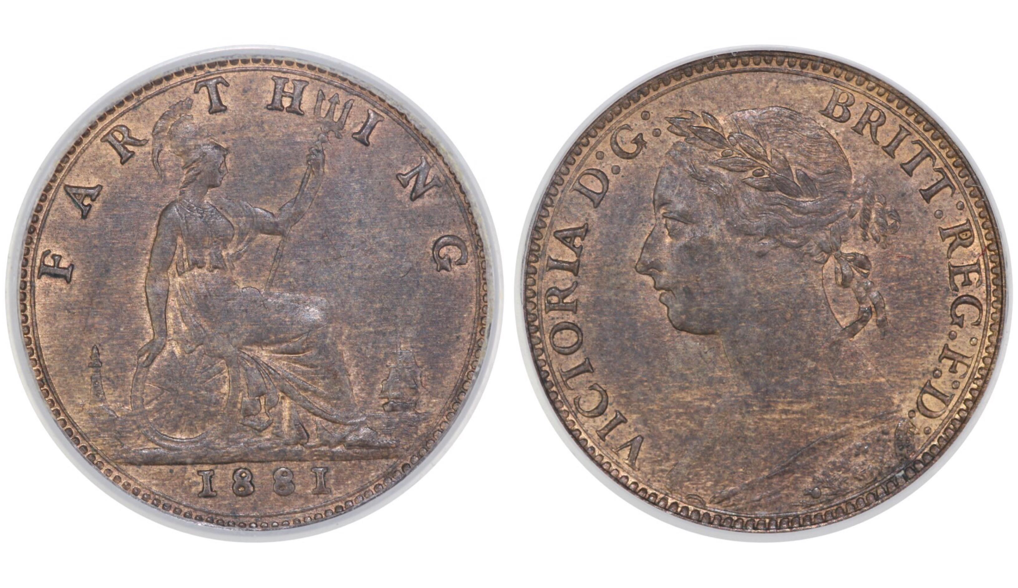 1881 Farthing, CGS 70, Victoria, Freeman 546, UIN 22668