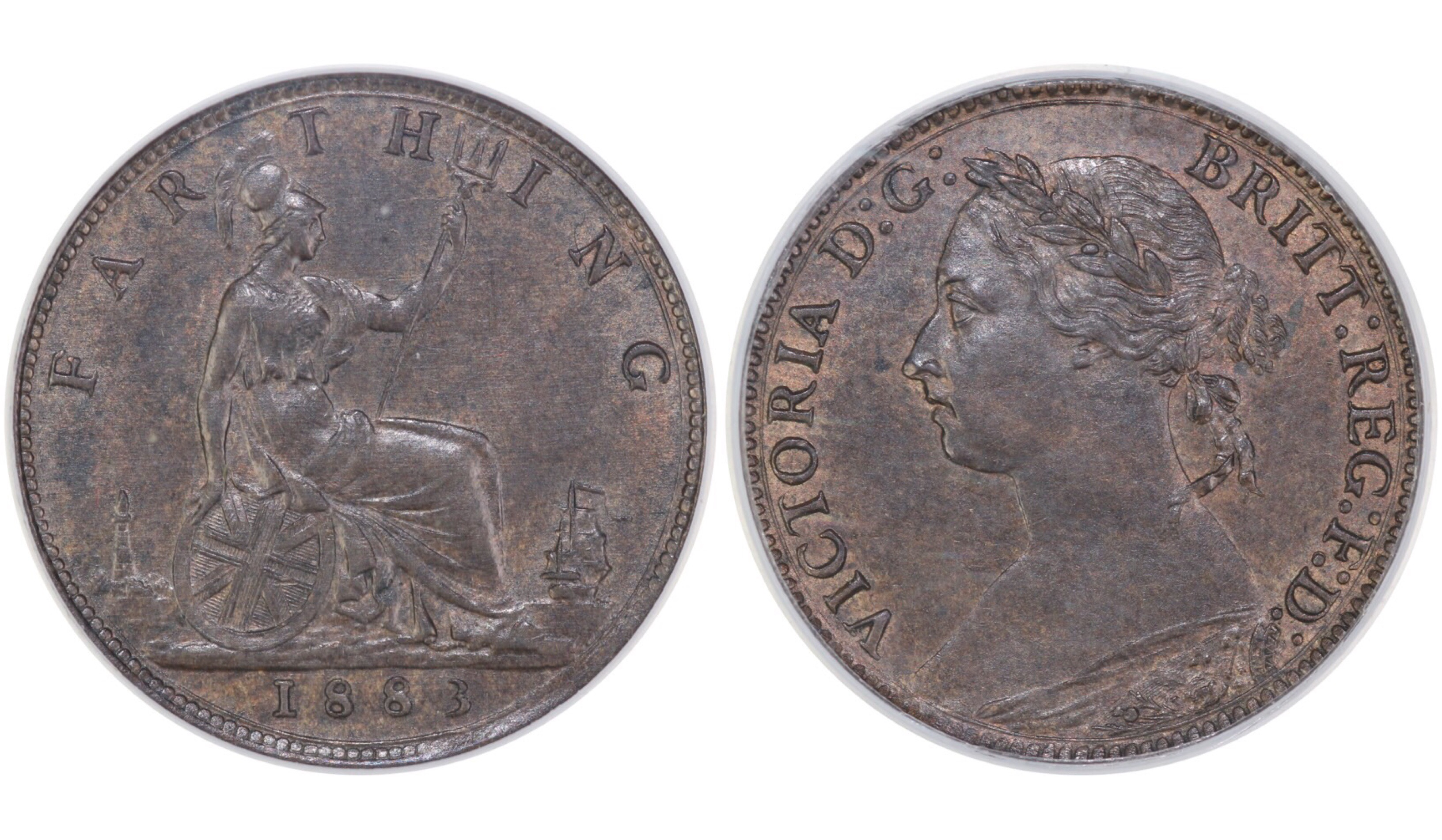 1883 Farthing, CGS 75, Victoria, CGS variety 2, Perfect F, UIN 21232