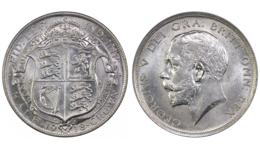 1918 Halfcrown, George V, LCGS 78, Choice UNC , ESC 765