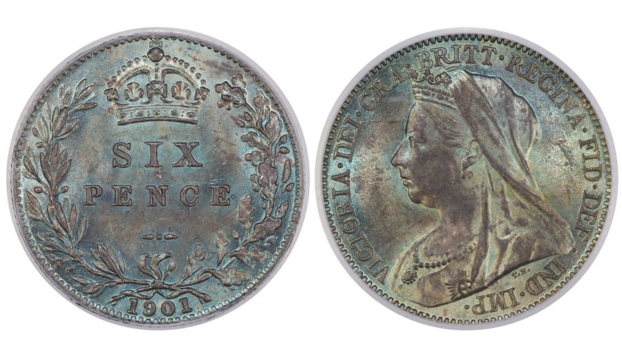 1901 Sixpence, CGS UNC 80(MS 64), ESC 1771