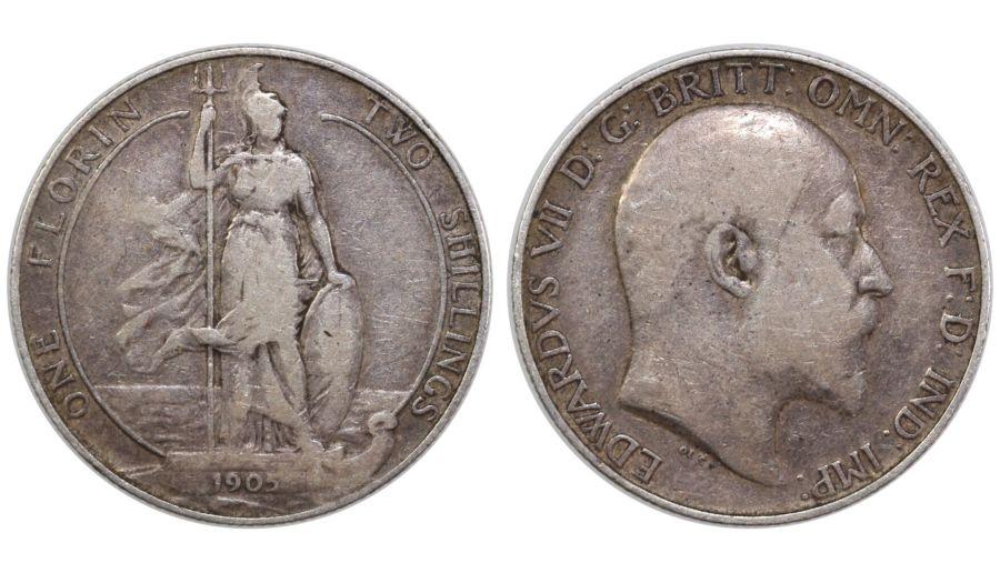 1905 Florin, gFair/nFine, Edward VII, ESC 923