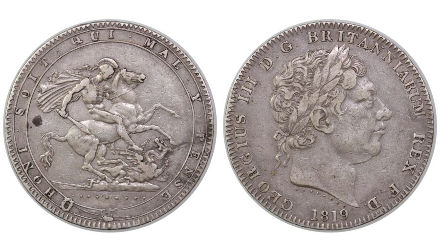 1819 Crown, LIX, no edge stops, S over S in SOIT, gFine or perhaps a little better, George III, Davies 6, ESC 215A(old), extremely rare(R3)