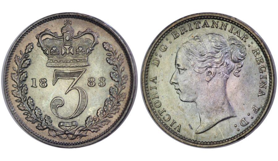 1883 Threepence, aUNC, Victoria, ESC 2090