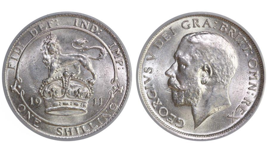 1911 Shilling, CGS 82, Choice UNC, Dies 2A, Davies 1791, UIN 2900