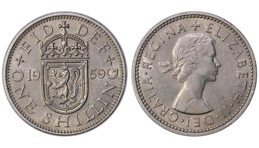 1959 'Scottish' Shilling, EF, Elizabeth II, ESC 1475Z