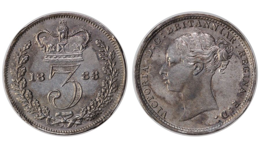 1883 Threepence, gEF, Victoria, ESC 2090