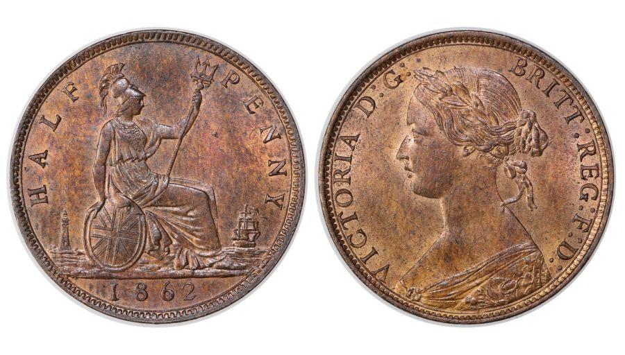 1862 Halfpenny, aUNC, Victoria, Freeman 289