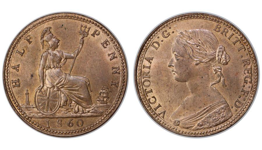 1860 Halfpenny, UNC, Victoria, Freeman 258