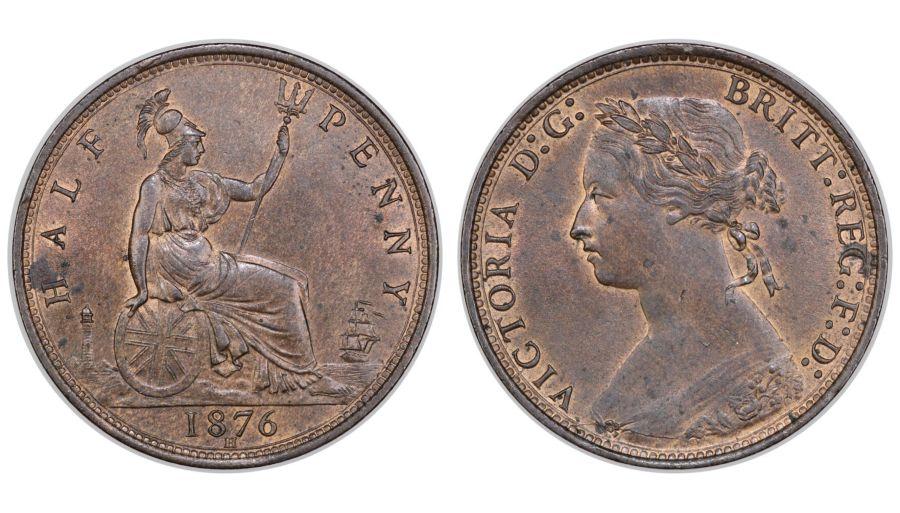 1876 H Halfpenny, UNC, Victoria, Dies 13+M, Freeman 326, R13(501-1000 in existence)