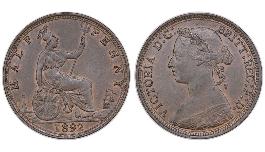 1892 Halfpenny, UNC/aUNC, Victoria, Freeman 366(R5), Very rare when 'As Struck'