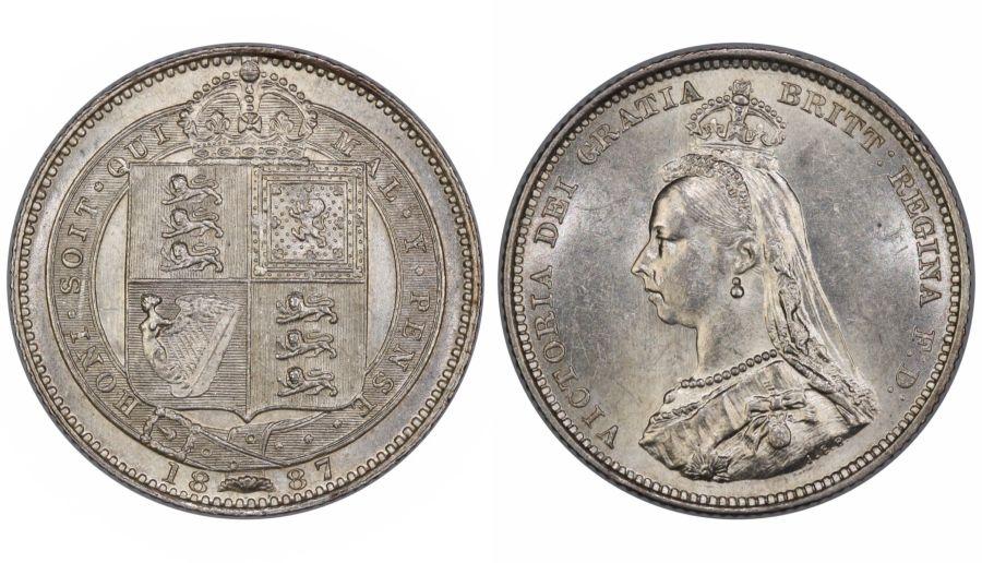 1887 Shilling, aUNC, Victoria, Dies 1C, Davies 982