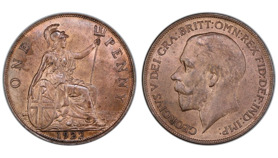 1922 Penny, aUNC/UNC, George V, Freeman 192