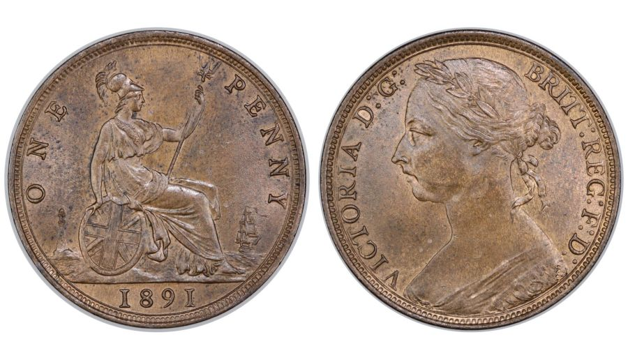 1891 Penny, aUNC, Victoria, Gouby BP1891AA,