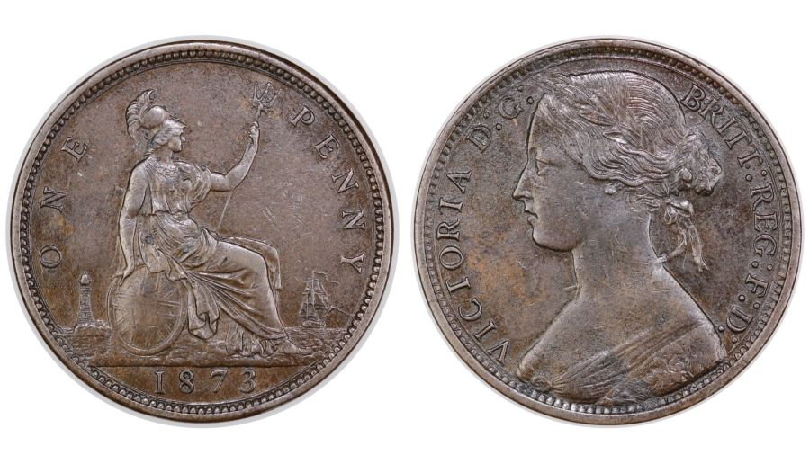 1873 Penny, EF slightly corroded, Victoria, Gouby1873Ac