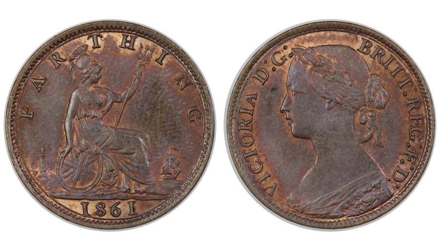 1861 Farthing,  aUNC, Victoria, 4 Berries, Freeman 502