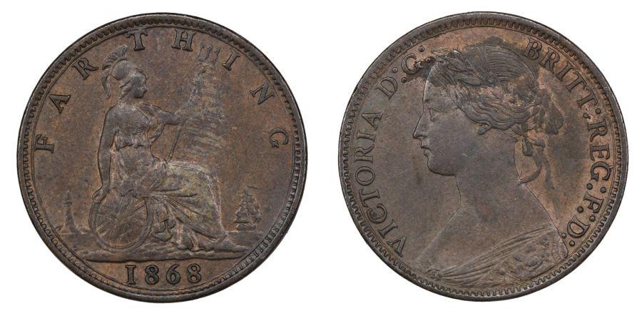1868 Farthing, EF, Victoria, Freeman 519