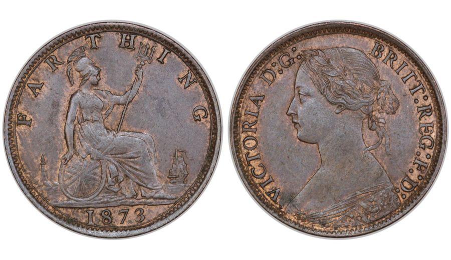 1873 Farthing, High 3, aUNC, Victoria