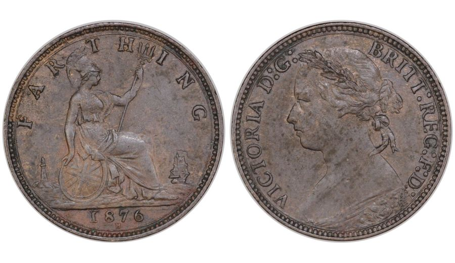 1876 H Farthing, EF, Victoria, Wide date, broken E in REG, G over ?, Peck 1894, Scarce